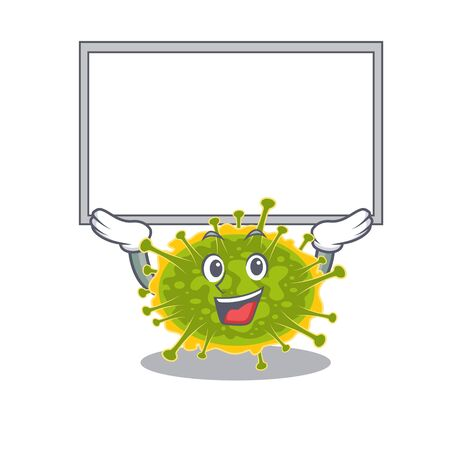 Mascot design of insthoviricetes lift up a board. Vector illustration