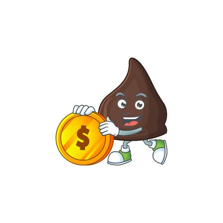 Chocolate conitos rich cartoon character have big gold coin. Vector illustration