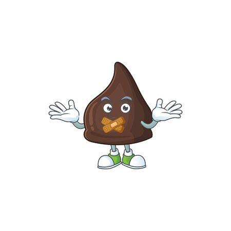Chocolate conitos mascot cartoon design with quiet gesture. Vector illustration