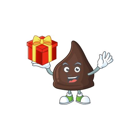 Charming chocolate conitos mascot design has a red box of gift. Vector illustration Ilustração