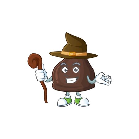 Cute and sneaky Witch chocolate conitos cartoon design style. Vector illustration