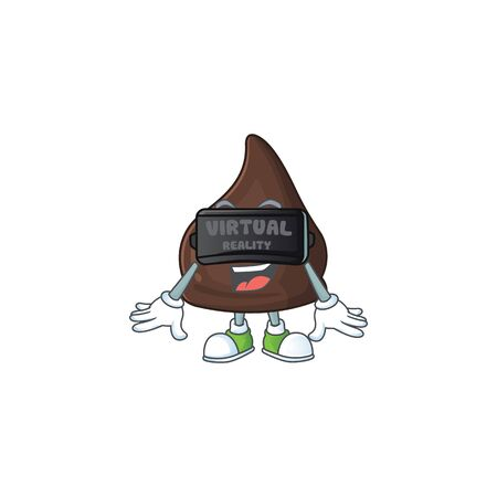 A cartoon mascot of chocolate conitos enjoying game with Virtual reality headset. Vector illustration