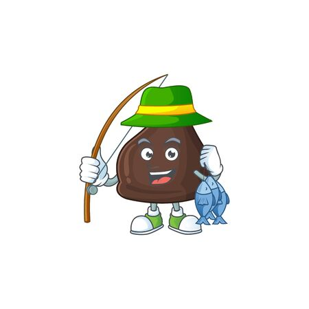 A Picture of chocolate conitos fisher mascot design catch a fish. Vector illustration