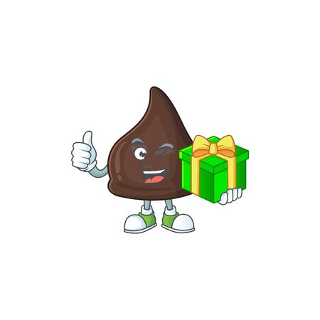 Smiley chocolate conitos cartoon character holding a gift box. Vector illustration