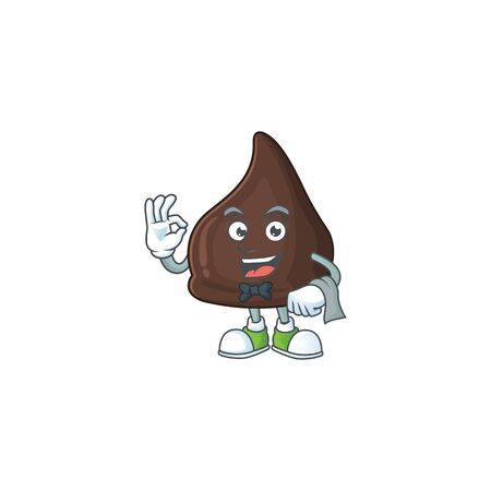 A chocolate conitos waiter cartoon character ready to serve. Vector illustration