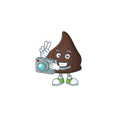 Chocolate conitos photographer mascot design concept using an expensive camera. Vector illustration
