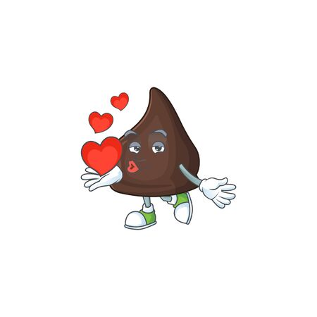 An adorable cartoon design of chocolate conitos holding heart. Vector illustration