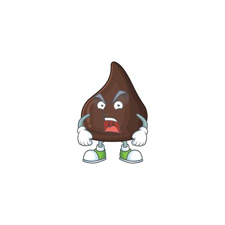 Chocolate conitos cartoon character design with mad face. Vector illustration
