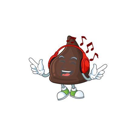 Cartoon mascot design chocolate conitos enjoying music with headset. Vector illustration Ilustração