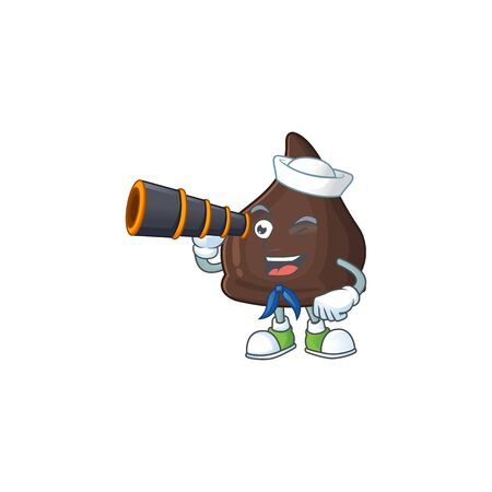 Chocolate conitos in Sailor cartoon character style using a binocular. Vector illustration Ilustração