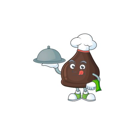 A chocolate conitos chef cartoon design with hat and tray. Vector illustration
