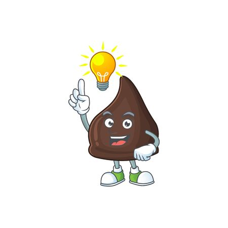 A genius chocolate conitos mascot character design have an idea. Vector illustration