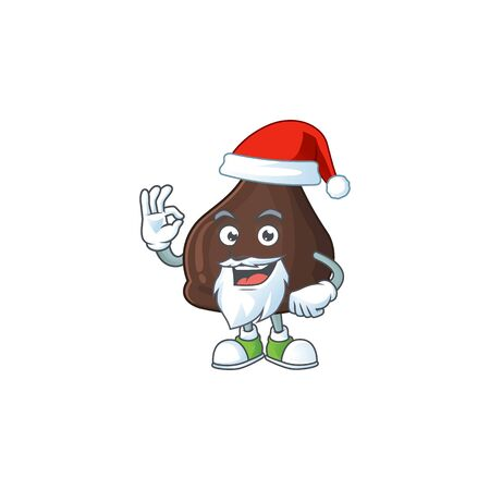 Friendly chocolate conitos Santa cartoon character design with ok finger. Vector illustration