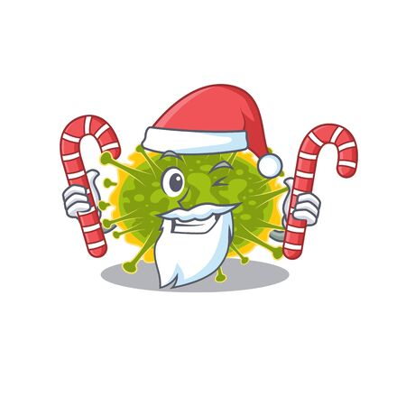 Friendly insthoviricetes in Santa Cartoon character holds Christmas candies. Vector illustration