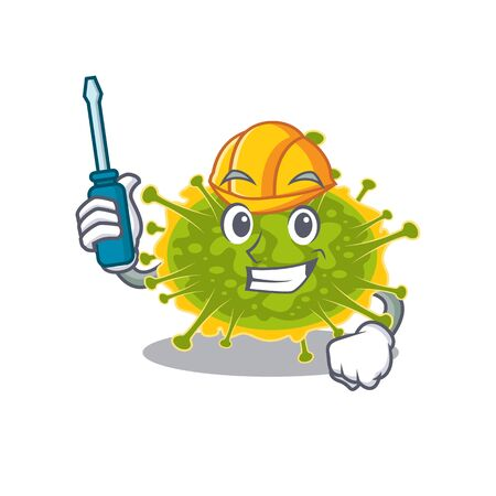 cartoon character of insthoviricetes worked as an automotive. Vector illustration