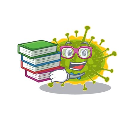 A diligent student in insthoviricetes mascot design concept with books. Vector illustration 向量圖像