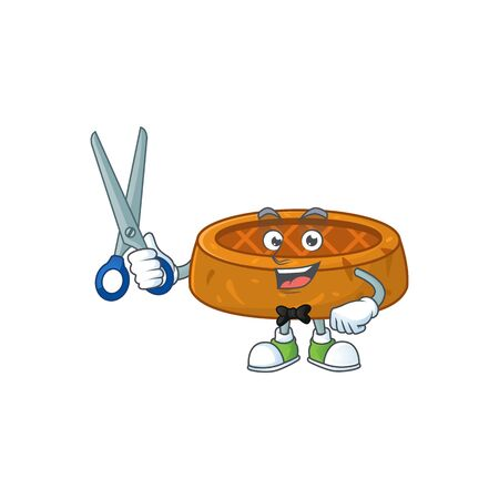 Cute Barber peanut cookies cartoon character style with scissor. Vector illustration