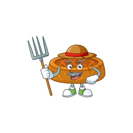 Mascot design style of Farmer peanut cookies with hat and pitchfork. Vector illustration