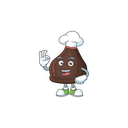 Chocolate conitos cartoon design style proudly wearing white chef hat. Vector illustration Vettoriali