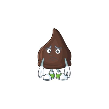 Cartoon picture of chocolate conitos with worried face. Vector illustration