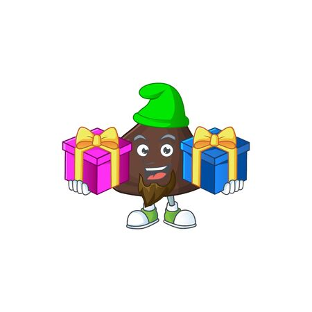 A smiling chocolate conitos cartoon design having Christmas gifts. Vector illustration
