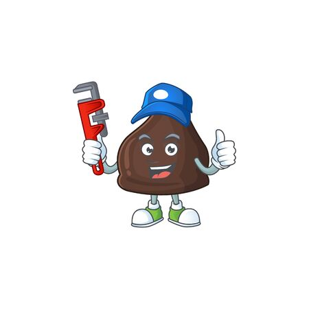 Mascot design concept of chocolate conitos work as smart Plumber. Vector illustration