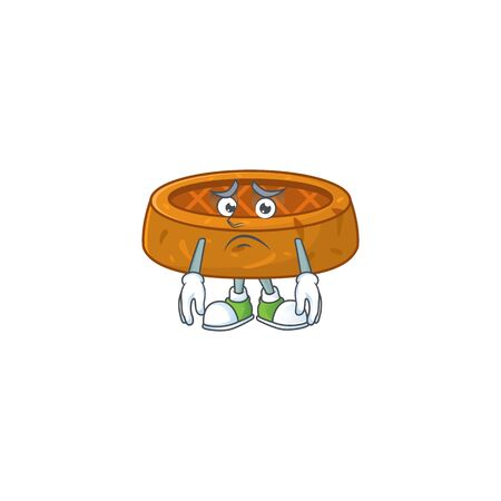 Cartoon picture of peanut cookies with worried face. Vector illustration