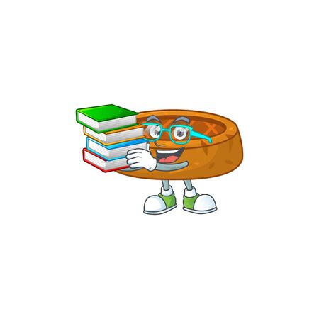 A mascot design of peanut cookies student character with book. Vector illustration 向量圖像