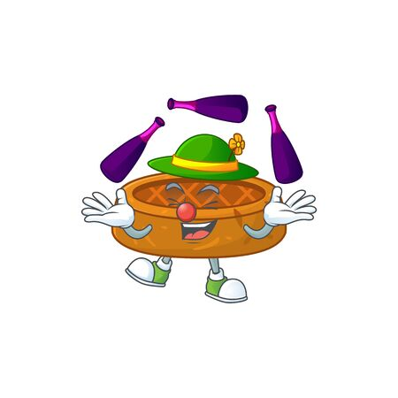 mascot cartoon style of peanut cookies playing Juggling on stage. Vector illustration