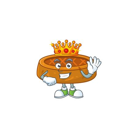 The Charismatic King of peanut cookies cartoon character design wearing gold crown. Vector illustration