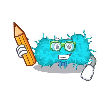 A brainy student bacteria prokaryote cartoon character with pencil and glasses. Vector illustration