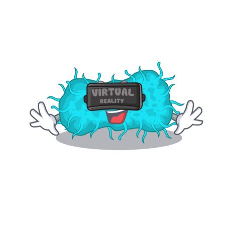 Cartoon design style of bacteria prokaryote with modern Virtual Reality headset. Vector illustration