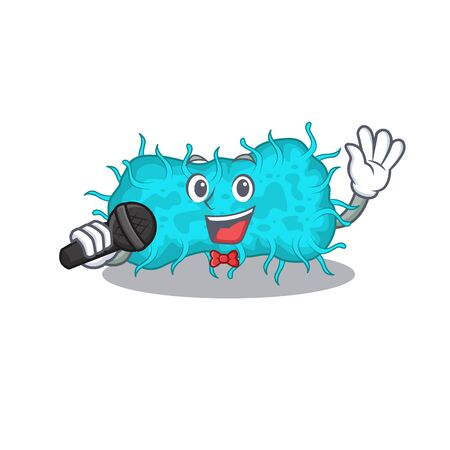 Talented singer of bacteria prokaryote cartoon character holding a microphone. Vector illustration