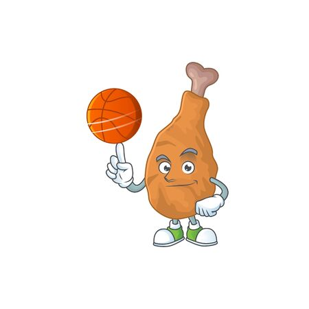 An athletic fried chicken cartoon design style playing basketball. Vector illustration