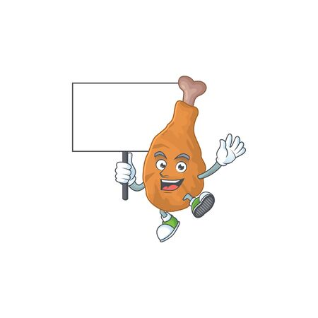 Sweet fried chicken cartoon character rise up a board. Vector illustration Ilustração
