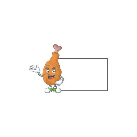 An image of fried chicken with board mascot design style. Vector illustration Ilustração