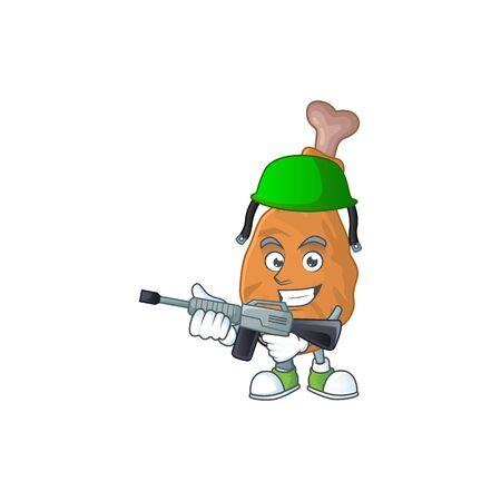 An elegant fried chicken Army mascot design style using automatic gun. Vector illustration Vettoriali