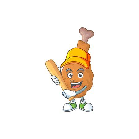 Fried chicken cartoon design concept of hold baseball stick. Vector illustration