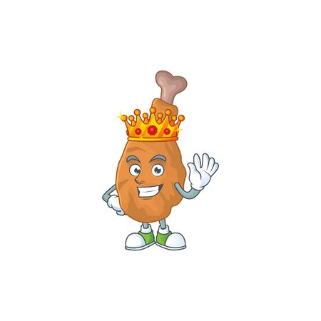 The Charismatic King of fried chicken cartoon character design wearing gold crown. Vector illustration