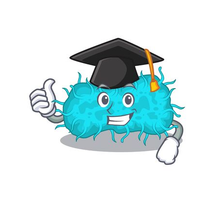 Happy face of bacteria prokaryote in black graduation hat for the ceremony. Vector illustration