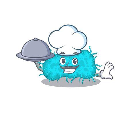 bacteria prokaryote chef cartoon character serving food on tray. Vector illustration 向量圖像