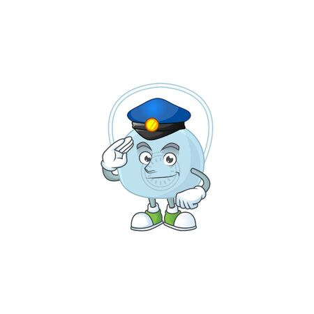 A dedicated Police officer of breathing mask mascot design style. Vector illustration