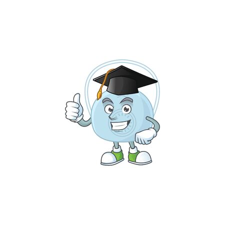Mascot design concept of breathing mask proudly wearing a black Graduation hat. Vector illustration