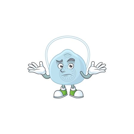 An image of breathing mask in grinning mascot cartoon style. Vector illustration