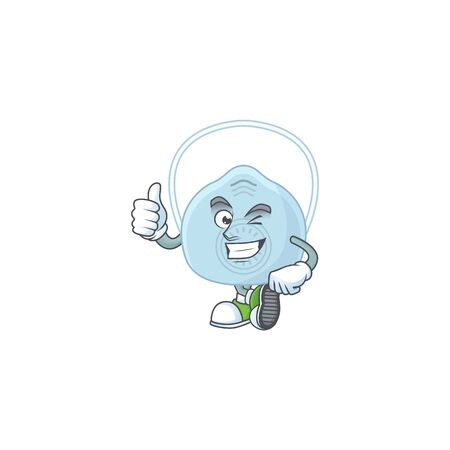 Mascot design style of breathing mask showing Thumbs up finger. Vector illustration
