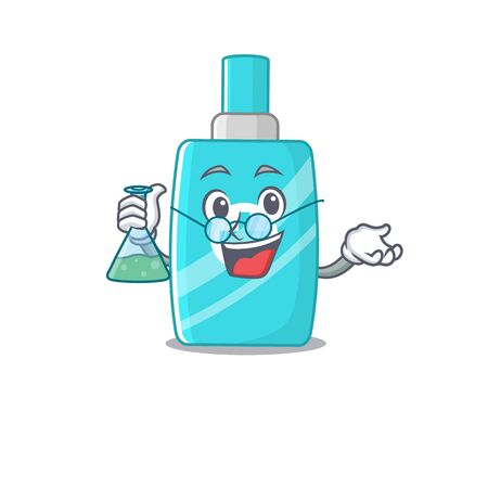 Ointment cream smart Professor Cartoon design style working with glass tube. Vector illustration