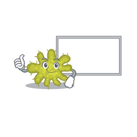 Humorous bacterium cartoon design Thumbs up bring a white board. Vector illustration