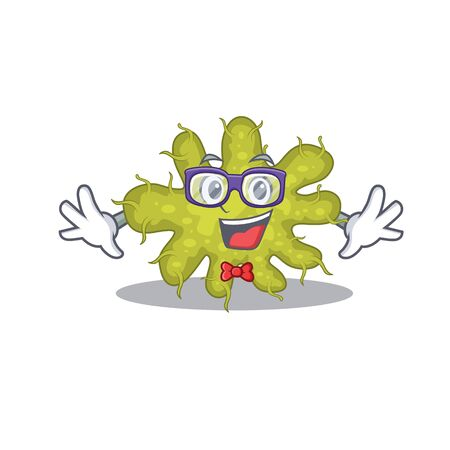 Mascot design style of geek bacterium with glasses. Vector illustration