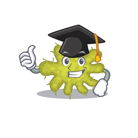 Happy face of bacterium in black graduation hat for the ceremony. Vector illustration 向量圖像