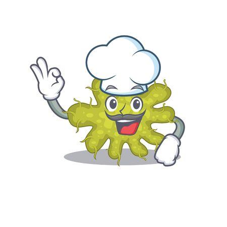 Bacterium chef cartoon design style wearing white hat. Vector illustration